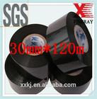 Black 30mm*120m PET film hot coding foil/date coding ribbon used on batch and date print machine Thermal printer ribbon