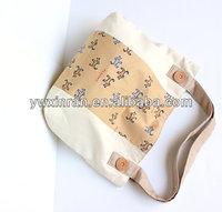 Creamy Brown Tote Bag, Dog Pattern Cotton Shoulder Bag