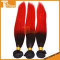 Longitud mixta 3pcs/set 14 16 18 gran stock natural color de pelo virgen 1b/red recto sedoso pelo de malasia ombre extensiones de cabello