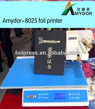 Notebooklar/kartvizit baskı makinesi amydor- 8025 sıcak dijital folyo yazıcı