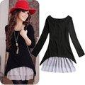 Atacado tamanho grande coreano estilo casual roupa 2pcs/set malha de algodão top+strap vestidos de renda para mulheres nova primavera 2014/outono