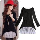 Wholesale Big Size Korean Casual Style Clothing 2pcs/set Cotton Knit Top+Strap Lace Dresses For Women New 2014 Spring/Autumn