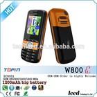 1.77inch LED light big battery 1400mah FCC mini telefono W800