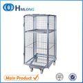 supermercado 4 de cara galvanizado plegables de almacenamiento de acero jaulas rollo