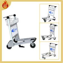 Aluminum 3 wheels 250 load bearing airport luggage trolley