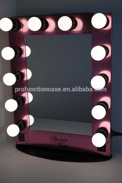 beleuchtung make up spiegel station beweglichen beleuchteten schminkspiegel mit 12 gl hbirnen. Black Bedroom Furniture Sets. Home Design Ideas