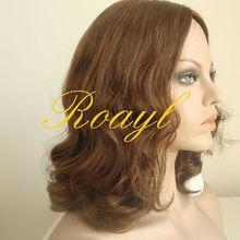 AAAAAA Human Hair Natural Brown Color Beautiful body Wavy Jewish Wig European Hair Wig