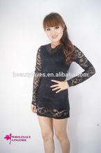 Sexy tight mini lace dress With v neck design
