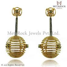 14K Gold Earring Designer Gold Diamond Earring, Handmade Earring Pave Diamond Earring, Earring Design For Women Gold Earring