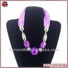 Fashion resin beads pendant scarf with chain jewelry necklace