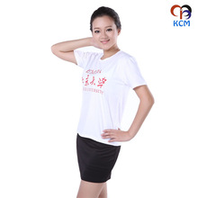Cotton Polyester CVC Plain Round Neck Custom T-shirt for School University