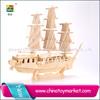 New merchant ship 3d wooden boat puzzle diy education block for children