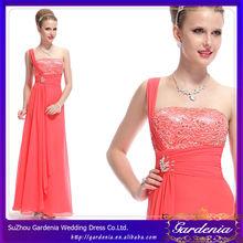 One Shoulder Sequins Waist Watermelon Long Chiffon Night Gown Evening Prom Dress Party Dress