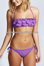 Rich Ruffle Halter Honey Bikini Top Bikini Sex Hot Open Girl Swimwear