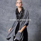 knitted fox fur collar 100% cashmere shawl