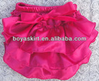 summer infant ruffle shorts girls hot pink satin bloomer with bow child pants diaper cover ruffle panties baby panties bloomer