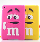 Kids 3D Cute cartoon M&M Silicone Chocolate Beans Case cover for ipad mini 1/2/3 50pcs/lot DHL