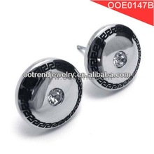 2014 new promotional products novelty items,wise Greek symbols,round zircon inlaid , stainless steel stud earrings,