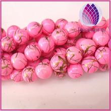 pink 10mm round beautiful paint glass bead