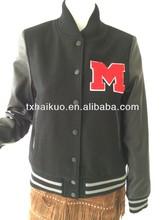 Ladies sports wear button down baseball woolen jacket