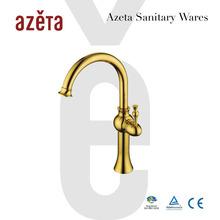 China Bathroom Washing Basin Sink Long neck Kitchen Gold Hot & cold Faucet