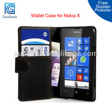 2014 Mobile Phone Accessories wallet Leather Case Cover For Nokia X