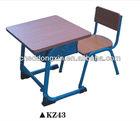 2014 new design wooden single school desk and chair &school furnitureKZ43