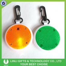 Promotional round shape led plastic reflective keychain