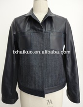 Ladies turn down collar denim jacket with leather pocket and sleeve