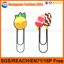 2014 Soft PVC 3d fruit& ice-cream designs bookmark for promotional use