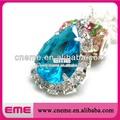 chapado en plata zafiro niñas de diamantes de imitación de cristal colgante collar de la joyería de moda