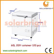 Manufacturer supply solar powered energy deep solar 12V dc chest freezer 60L