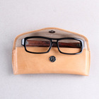 Newest style! Natural tan italian vegetable tanned leather sunglasses case with soft lining protected and fashion