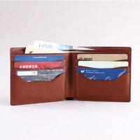 Hot selling! Genuine vegetable tanned Leather for Bi-Fold Wallet BrownTravel wallet soft card case wallet for men and women