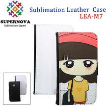 Sublimation rock leather flip case for htc one m7