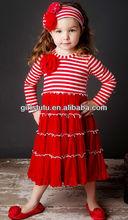 New Fashion Girls Kids Wear Brand Names Long Sleeve Stripe Dress Boutique Little Girls Cotton Summer Dresses