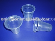 Disposable clear plastic drinking cup