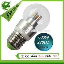 High brightness low cost 3W E27 LED bulb 6000k