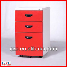Red Three Drawer Feather Edged Filing Cabinet with 5 Castors