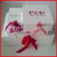 Luxury! Nice Price White Engagement Pretty Folding Boxes With Ribbon Closure, Printing Logo Folding Box of Paradise