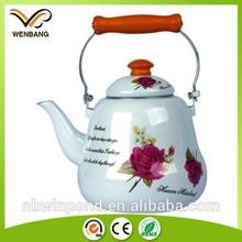 Enamel tea kettle set with wooden handle ,With decal printing carbon steel enamel tea kettle