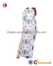 Alibaba custom long sleeve side high slit sexy dress woman maxi long dress