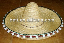 Roll up wide brim sombrero straw hats custom straw hat wholesale