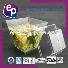 Popular design fda bpa free square 200ml plastic container with lid