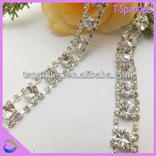 decorative crystal strass rhinestone chain beaded trim for wedding dress