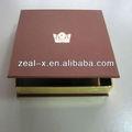 Libro- en forma de cartón de lujo doblado cajas de pañuelos, brillante de oro en el interior de apoyo con cajas de chocolate de color de la superficie cubierta