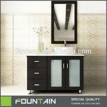 Ceramic Basin Top Floor Bathroom Vanity Storage