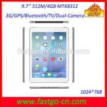9 7 inch tablet pc 3g sim card slot MTK8312 with wifi/GPS//bluetooth/Dual-camera