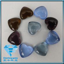 heart shape flat bottom cabochon glass gemstone for necklace