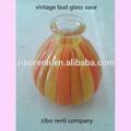 home decoração de mesa de cor laranja fundido mão pequena vintage de vidro mini vaso bud